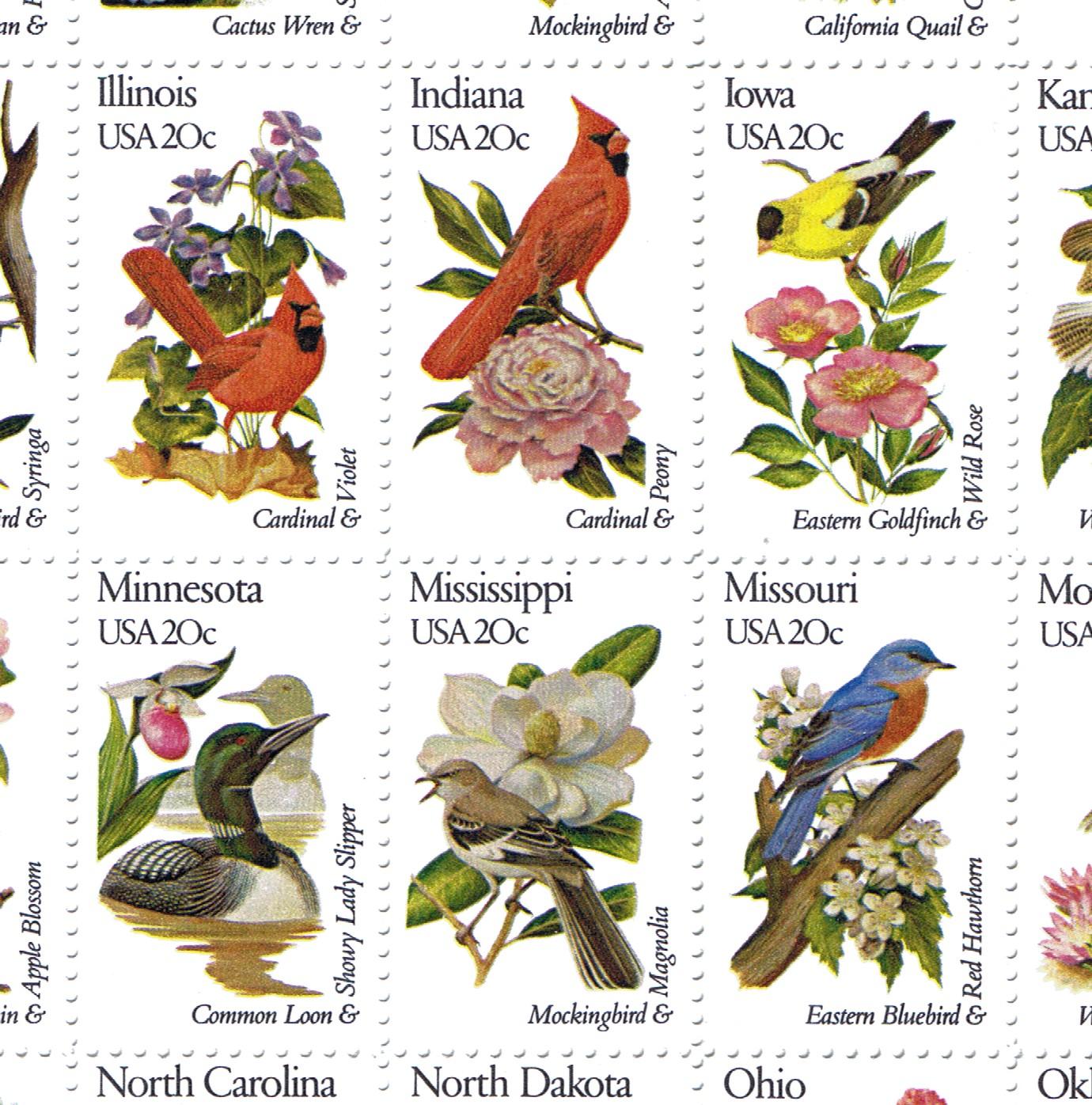 50 US State Birds Amp Flowers Postage Stamp Sheet Near Mint Scott 1953 02 Fre